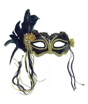 Masca carnaval - negru si auriu